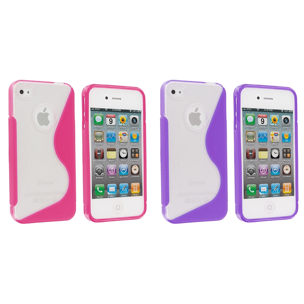 Apple iPhone 4 / 4S 2 in 1 Combo Bundle Pack - Purple / Pink S-Line TPU Rubber Skin Case Cover