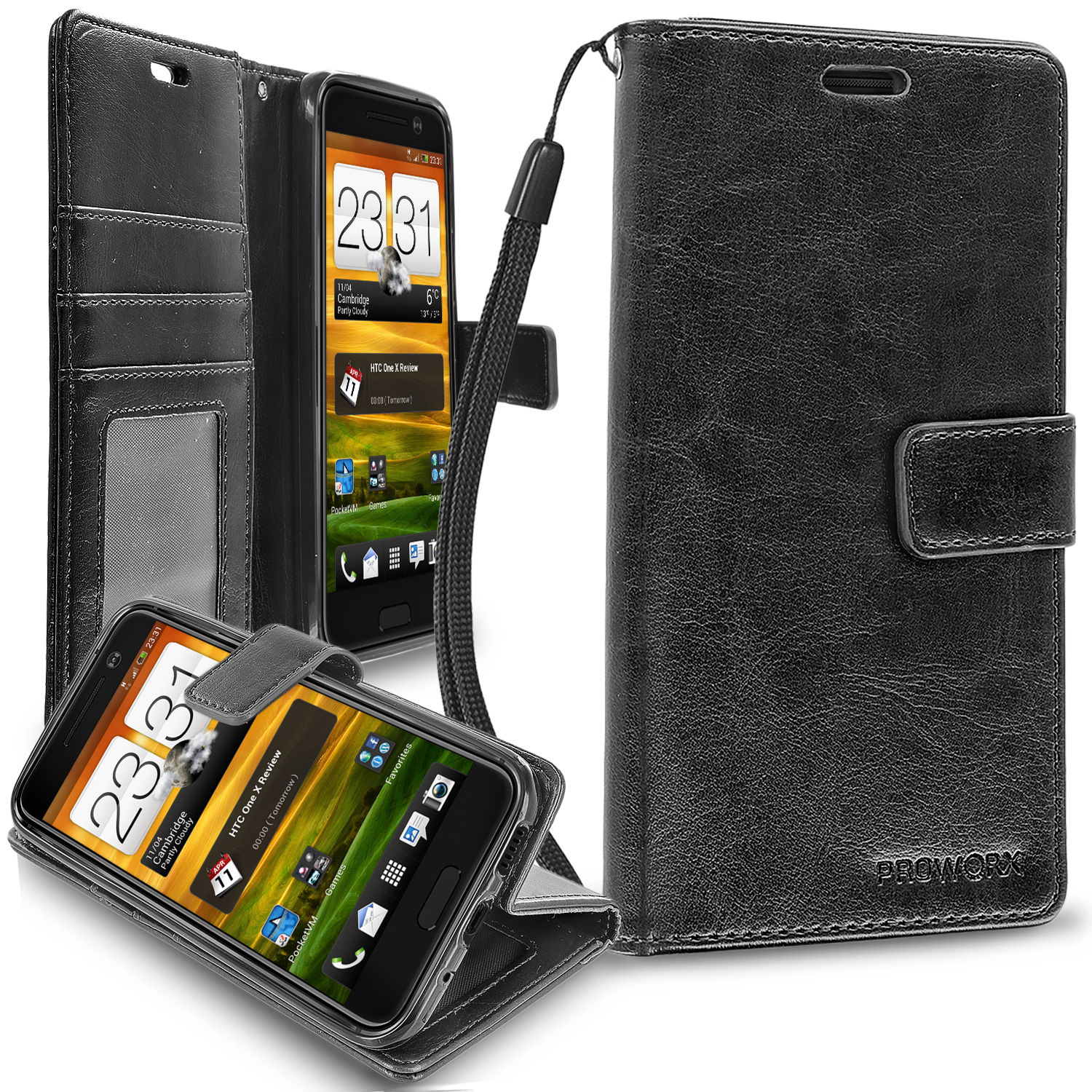 HTC One 10 M10 Black ProWorx Wallet Case Luxury PU Leather Case Cover With Card Slots & Stand