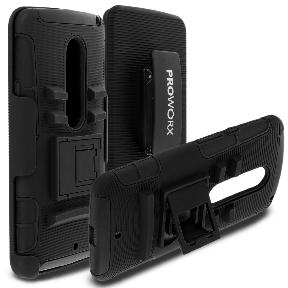 Motorola Droid Maxx 2 XT1565 ProWorx Black Heavy Duty Shock Absorption Armor Defender Case Cover With Belt Clip Holster
