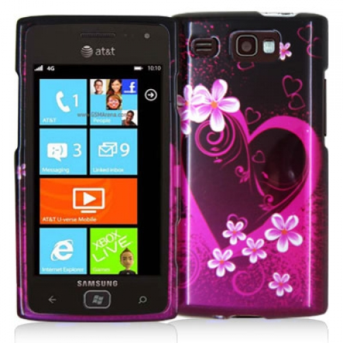 Samsung Focus Flash i677 Purple Love Design Crystal Hard Case Cover