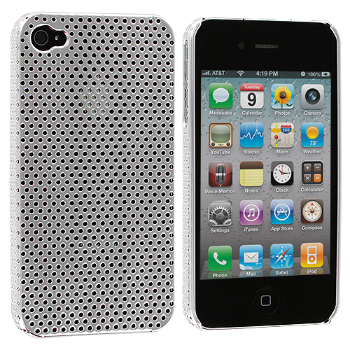 Apple iPhone 4 / 4S 2 in 1 Combo Bundle Pack - Black Silver Electroplated Mesh Case Cover : Color Silver Electroplated Mesh