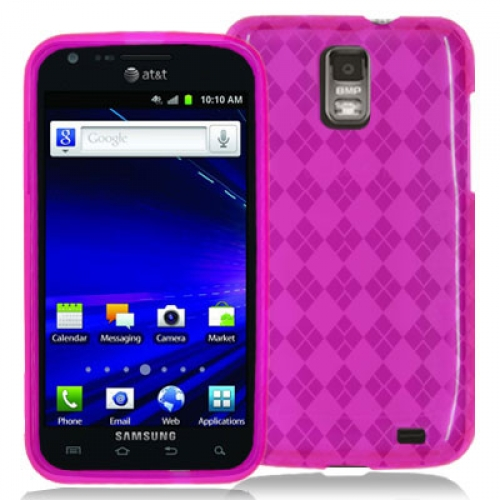 Samsung Skyrocket i727 Hot Pink Checkered TPU Rubber Skin Case Cover