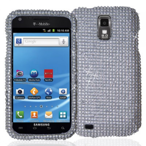 Samsung Hercules T989 T-Mobile Galaxy S2 Silver Bling Rhinestone Case Cover