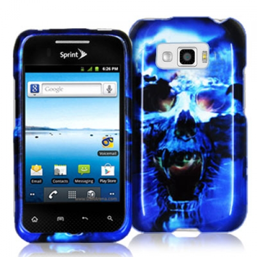 LG Optimus Elite LS696 Blue Skulls Design Crystal Hard Case Cover