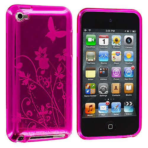 Apple iPod Touch 4th Generation Hot Pink Butterfly TPU Rubber Skin Case Cover