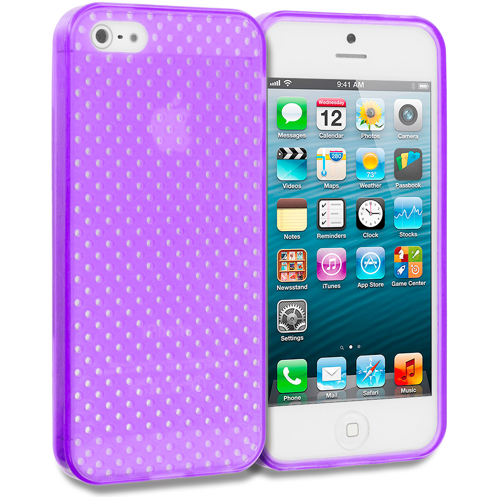 Apple iPhone 5/5S/SE Combo Pack : Hot Pink Mesh TPU Rubber Skin Case Cover : Color Purple Mesh