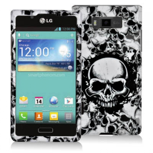 LG Splendor US730 Black / White Skulls Design Crystal Hard Case Cover
