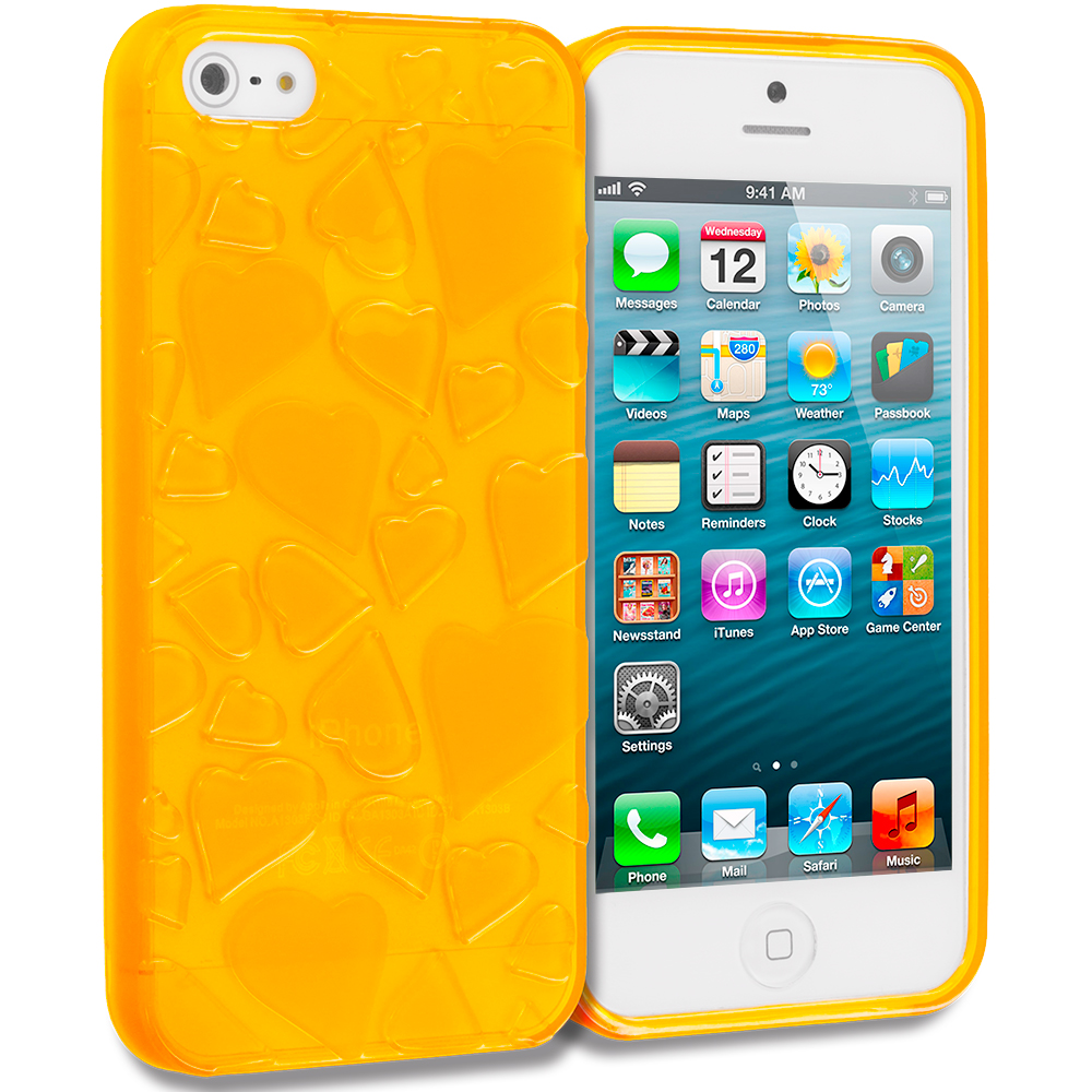 Apple iPhone 5/5S/SE Combo Pack : Blue Hearts TPU Rubber Skin Case Cover : Color Orange Hearts