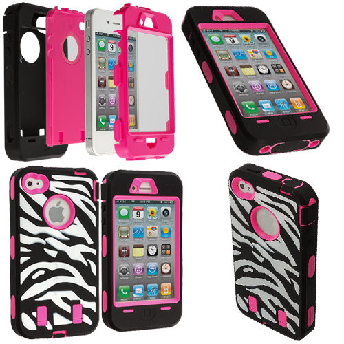 Apple iPhone 4 / 4S Hot Pink + Protector Hybrid Zebra 3-Piece Case Cover