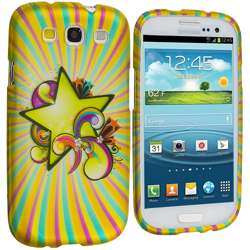 Samsung Galaxy S3 Superstar Hard Rubberized Design Case Cover