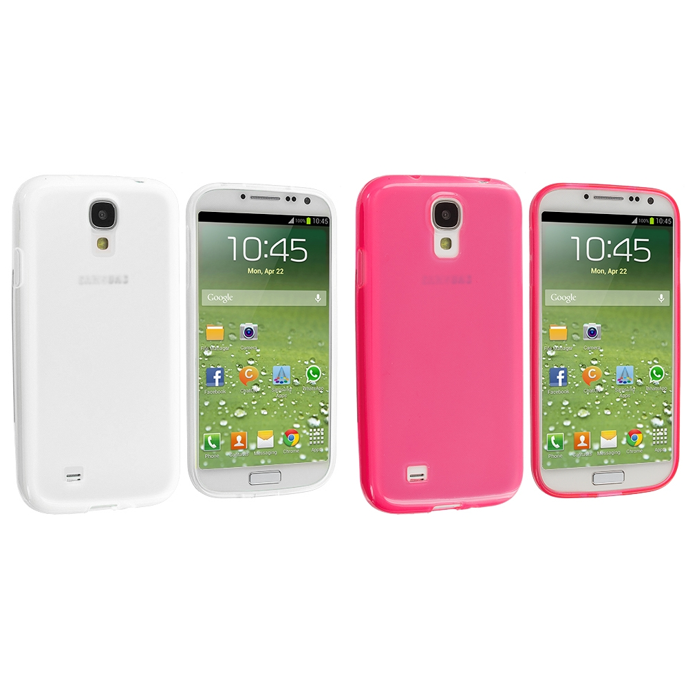Samsung Galaxy S4 2 in 1 Combo Bundle Pack - Clear Pink Plain TPU Rubber Skin Case Cover