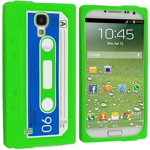Samsung Galaxy S4 Neon Green Cassette Silicone Soft Skin Case Cover