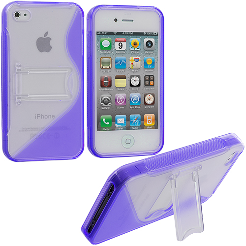 Apple iPhone 4 / 4S Purple TPU S-Line Case Cover with Stand
