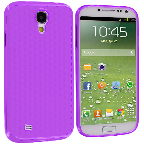 Samsung Galaxy S4 Purple Diamond TPU Rubber Skin Case Cover