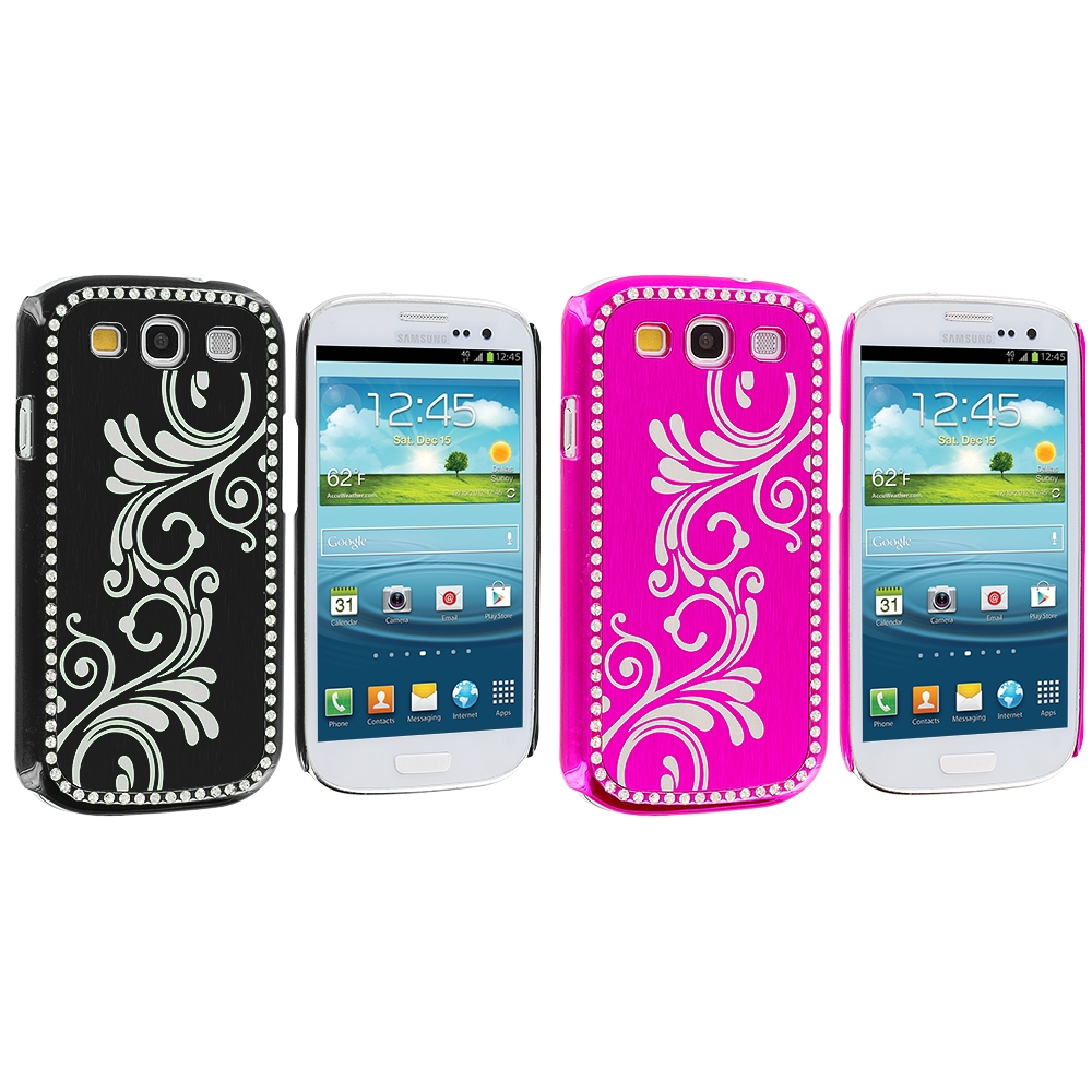 Samsung Galaxy S3 2 in 1 Combo Bundle Pack - Black Pink Diamond Luxury Flower Case Cover