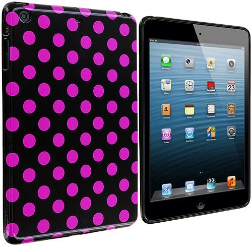 Apple iPad Mini Black / Hot Pink TPU Polka Dot Skin Case Cover