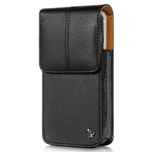 iPhone 5/5S/SE/5C Black Tan Vertical Leather Pouch