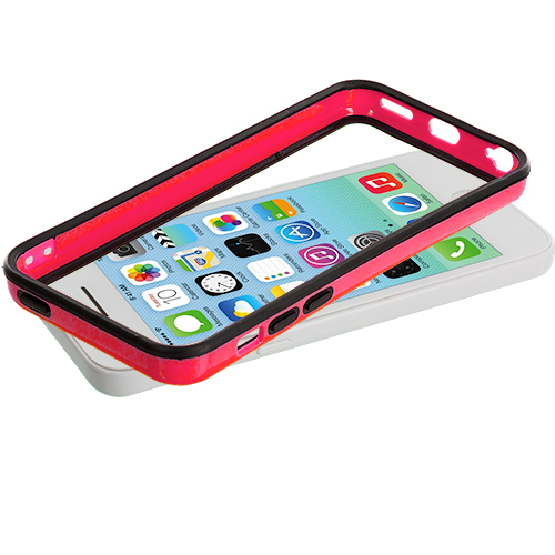 Apple iPhone 5C 2 in 1 Combo Bundle Pack - Black / Hot Pink TPU Bumper with Metal Buttons : Color Black / Hot Pink