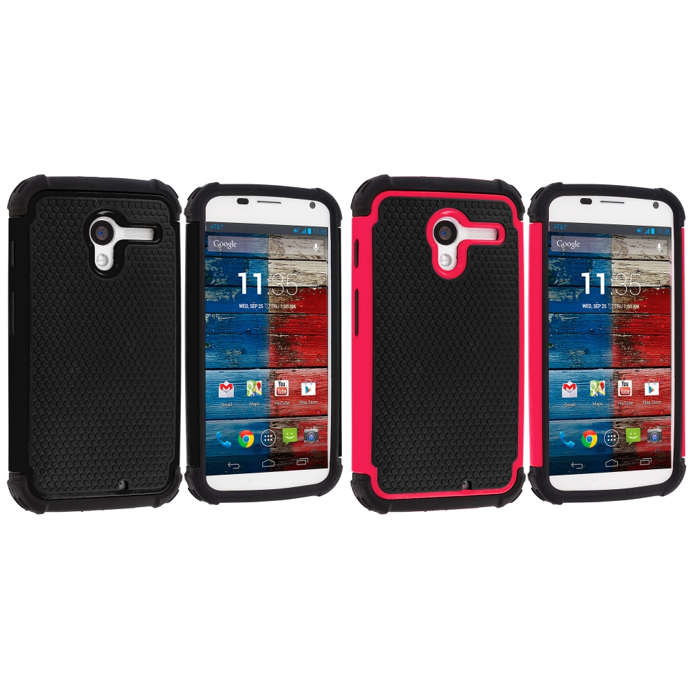 Motorola Moto X 2 in 1 Combo Bundle Pack - Black / Pink Hybrid Rugged Hard/Soft Case Cover