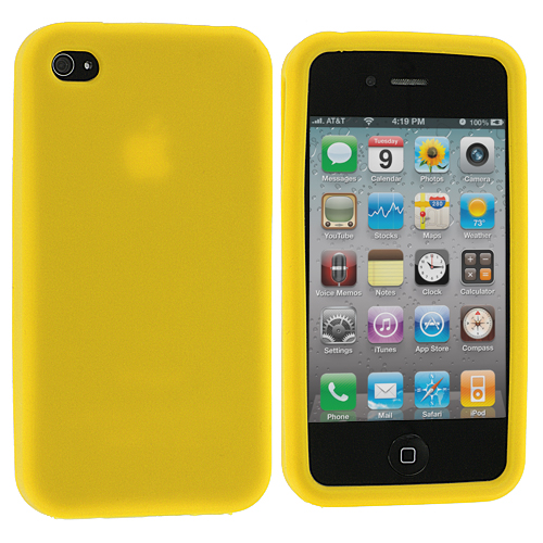 Apple iPhone 4 / 4S Yellow Silicone Soft Skin Case Cover