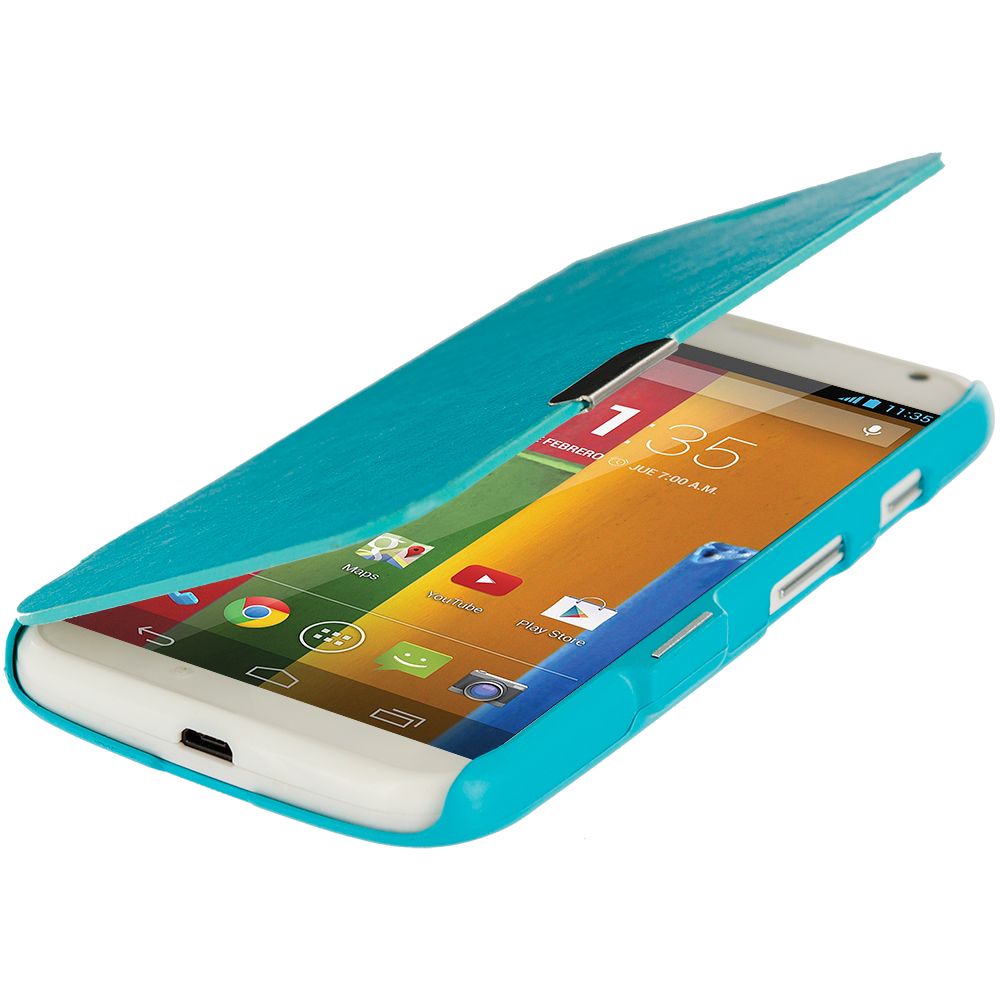 Motorola Moto G Baby Blue Magnetic Wallet Case Cover Pouch