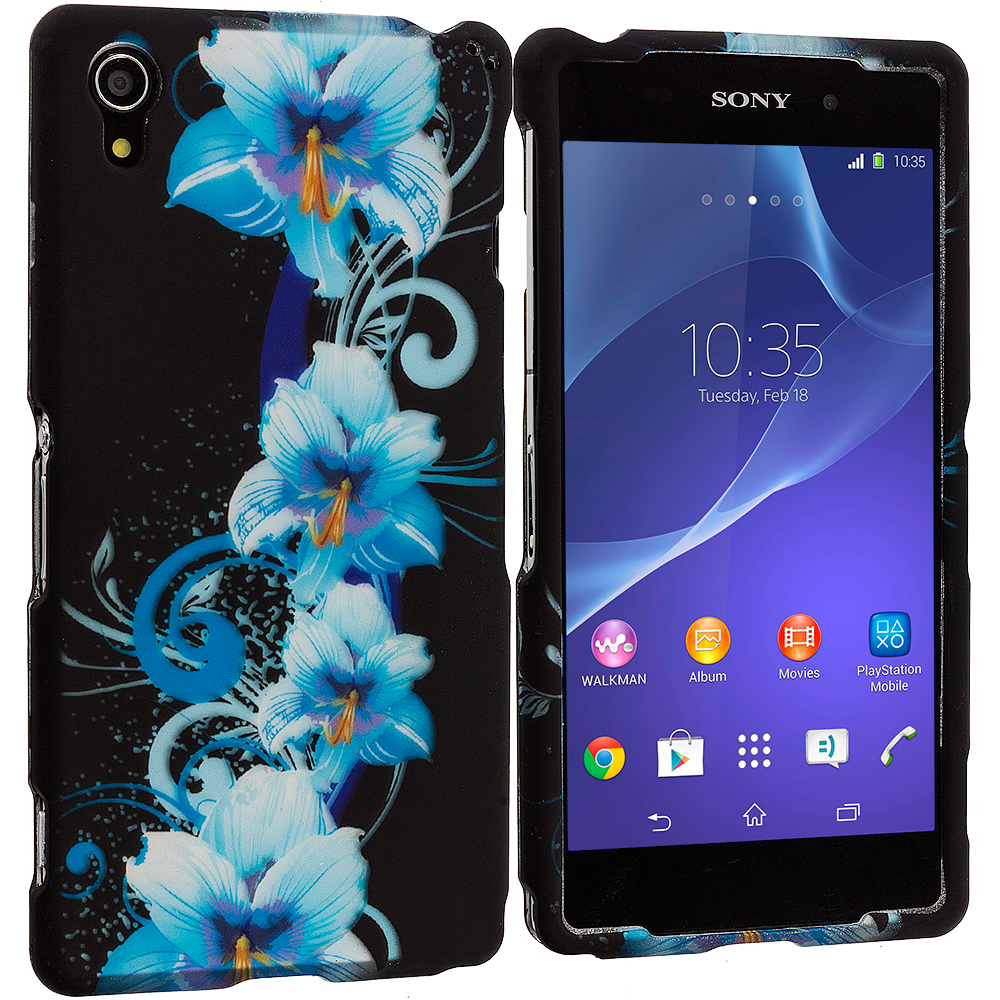 Sony Xperia Z2 Blue Flowers 2D Hard Rubberized Design Case Cover