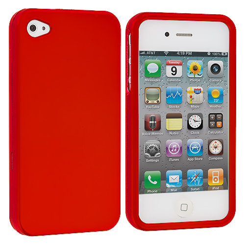 Apple iPhone 4 / 4S Orange Hard Rubberized Case Cover