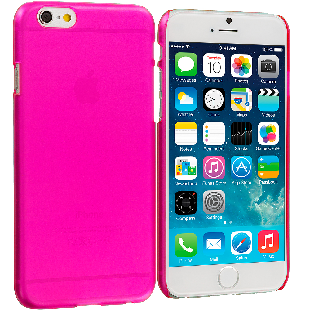 Apple iPhone 6 6S (4.7) 3 in 1 Combo Bundle Pack - Crystal Hard Back Cover Case : Color Hot Pink
