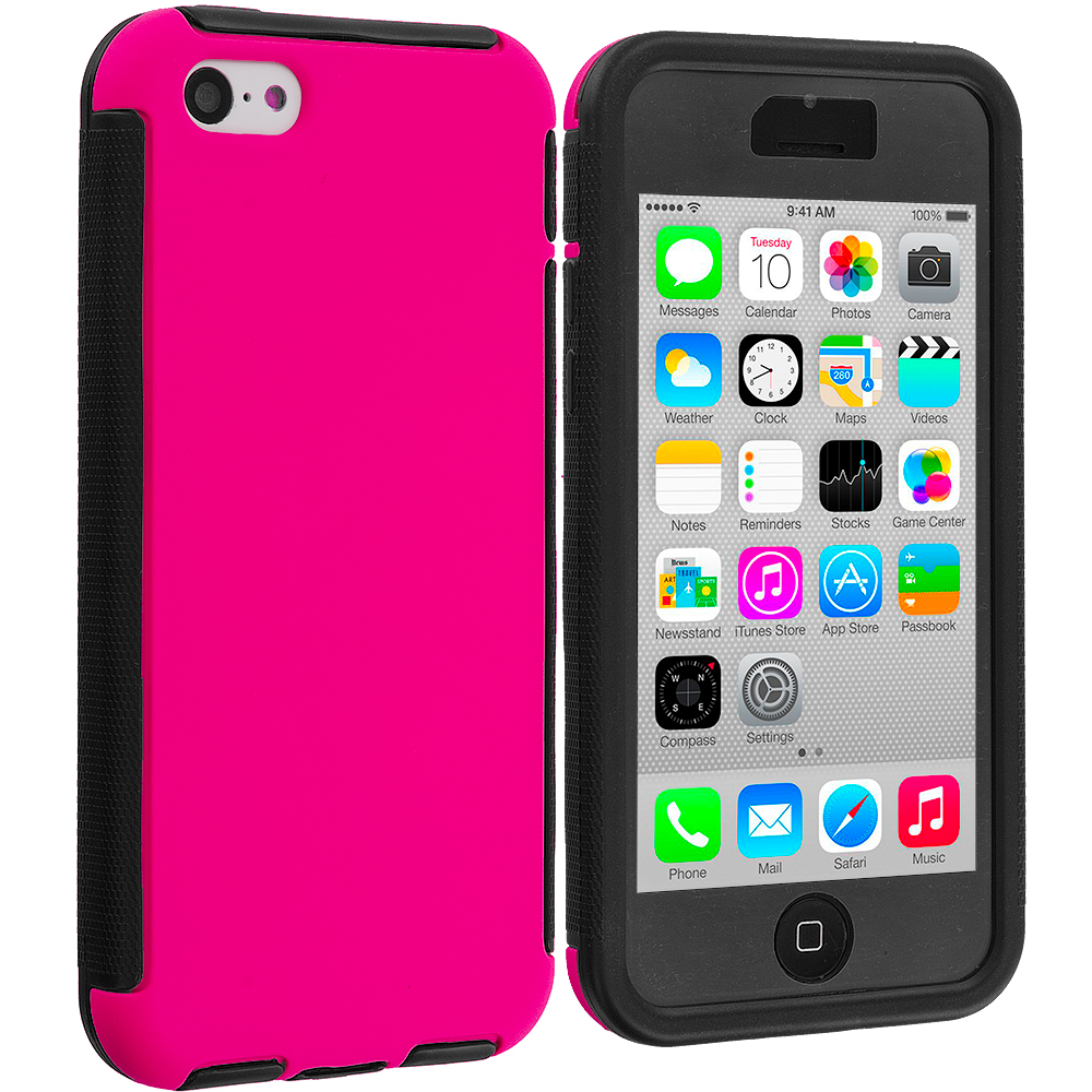 Apple iPhone 5C Black / Hot Pink Hybrid Hard TPU Shockproof Case Cover With Built in Screen Protector
