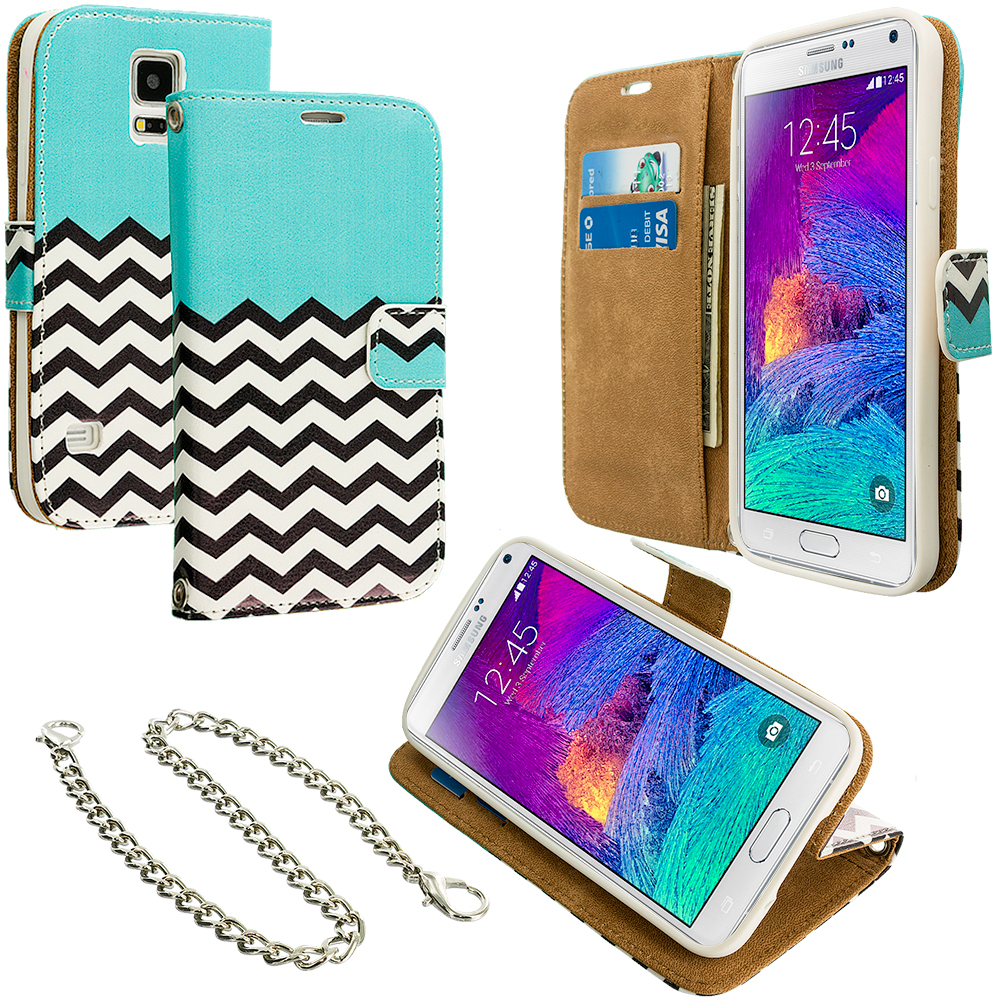 Samsung Galaxy Note 4 Mint Green Zebra Leather Wallet Pouch Case Cover with Slots