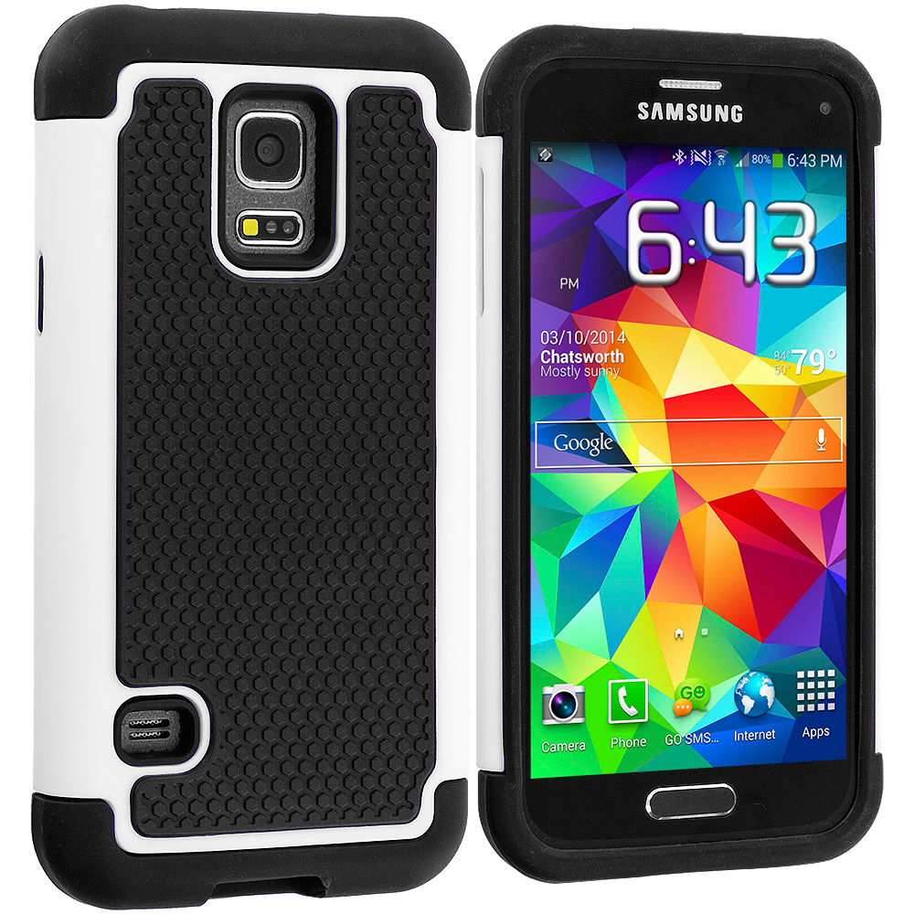 Samsung Galaxy S5 Mini G800 Black / White Hybrid Rugged Grip Shockproof Case Cover
