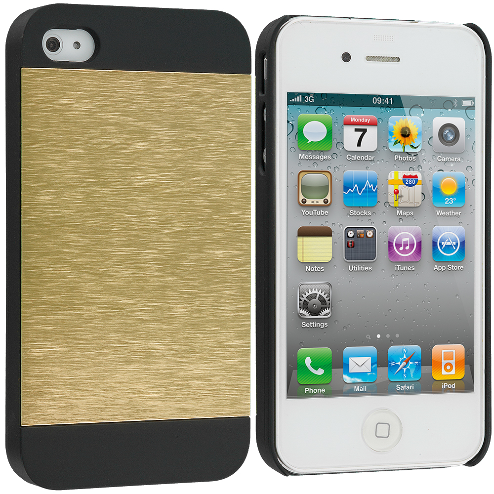 Apple iPhone 4 / 4S 2 in 1 Combo Bundle Pack - Gold / Silver Hybrid Luxury Aluminum Hard Case Cover : Color Gold / Black