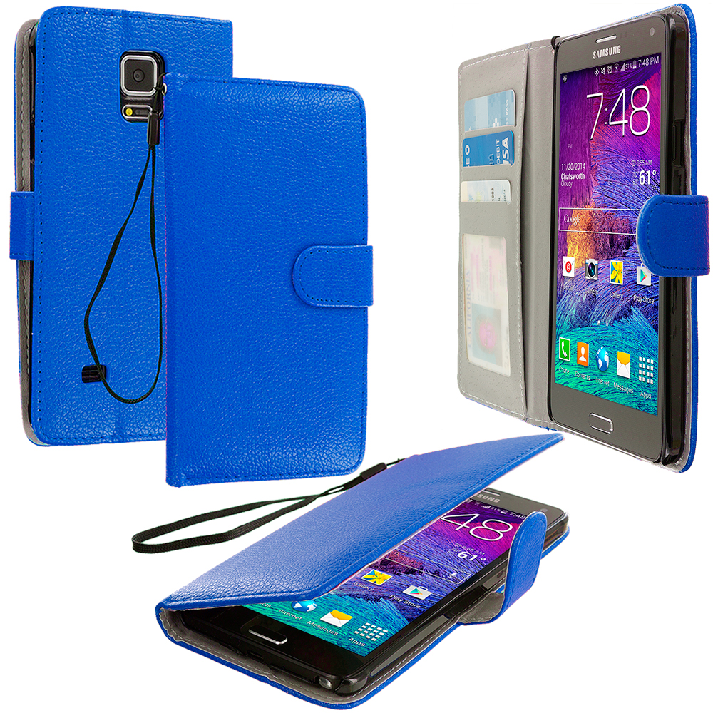 Samsung Galaxy Note 4 2 in 1 Combo Bundle Pack - Black Blue Leather Wallet Pouch Case Cover with Slots : Color Blue