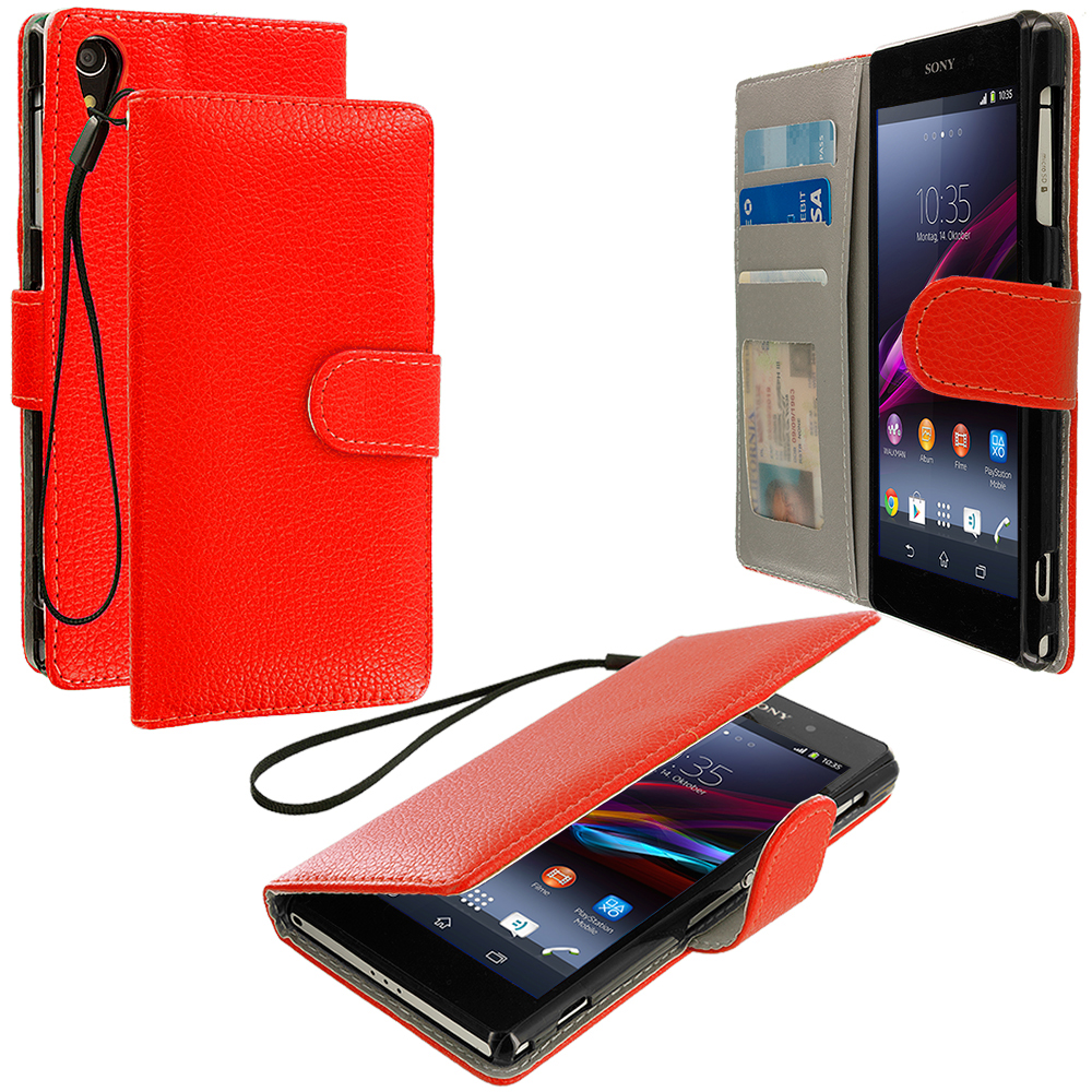 Sony Xperia Z1 Red Leather Wallet Pouch Case Cover with Slots