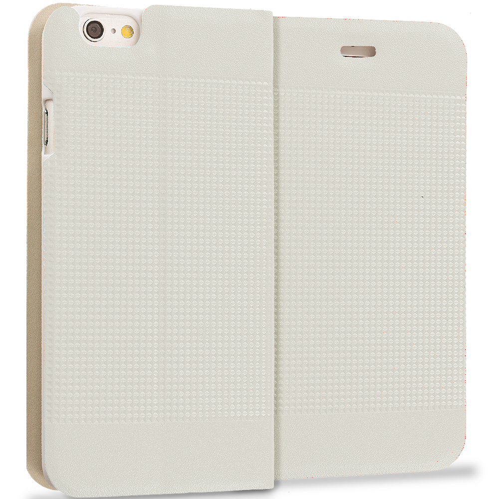 Apple iPhone 6 Plus 6S Plus (5.5) White Slim Wallet Flip Design Case Cover