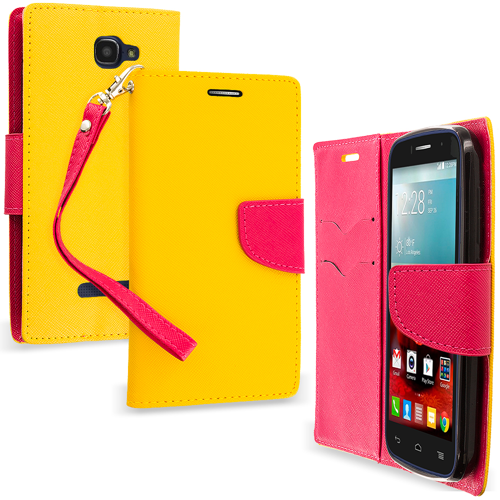 Alcatel One Touch Fierce 2 7040T Yellow / Hot Pink Leather Flip Wallet Pouch TPU Case Cover with ID Card Slots
