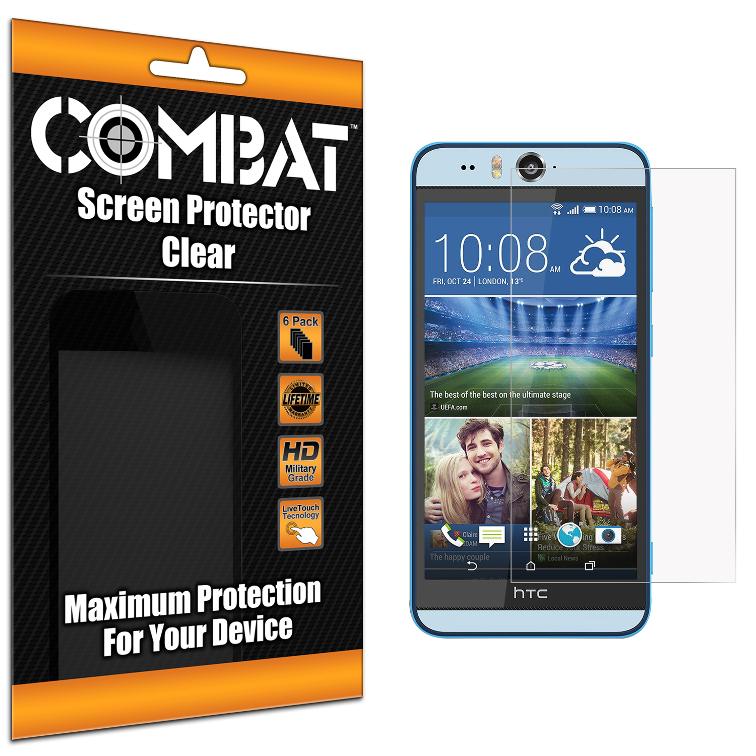 HTC Desire EYE Clear Combat 6 Pack HD Clear Screen Protector