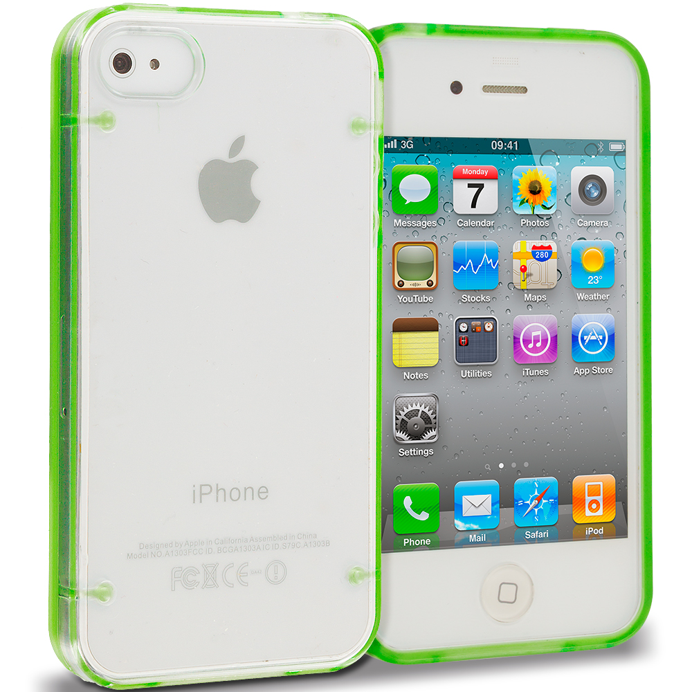 Apple iPhone 4 Bundle Pack Neon Green Pink Crystal Robot Hard TPU Case Cover : Color Neon Green