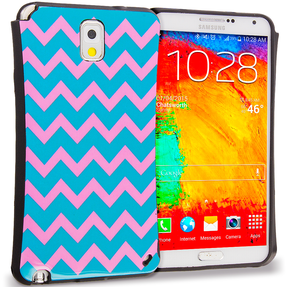 Samsung Galaxy Note 3 N9000 Pink Wave Hybrid TPU Hard Soft Shockproof Drop Proof Case Cover