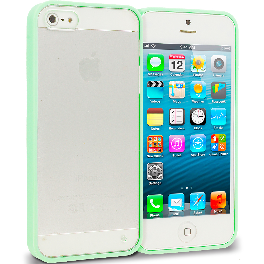 Apple iPhone 5/5S/SE Combo Pack : Green TPU Plastic Hybrid Case Cover : Color Green