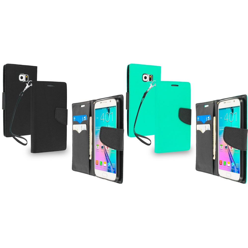 Samsung Galaxy S6 Combo Pack : Black / Black Leather Flip Wallet Pouch TPU Case Cover with ID Card Slots
