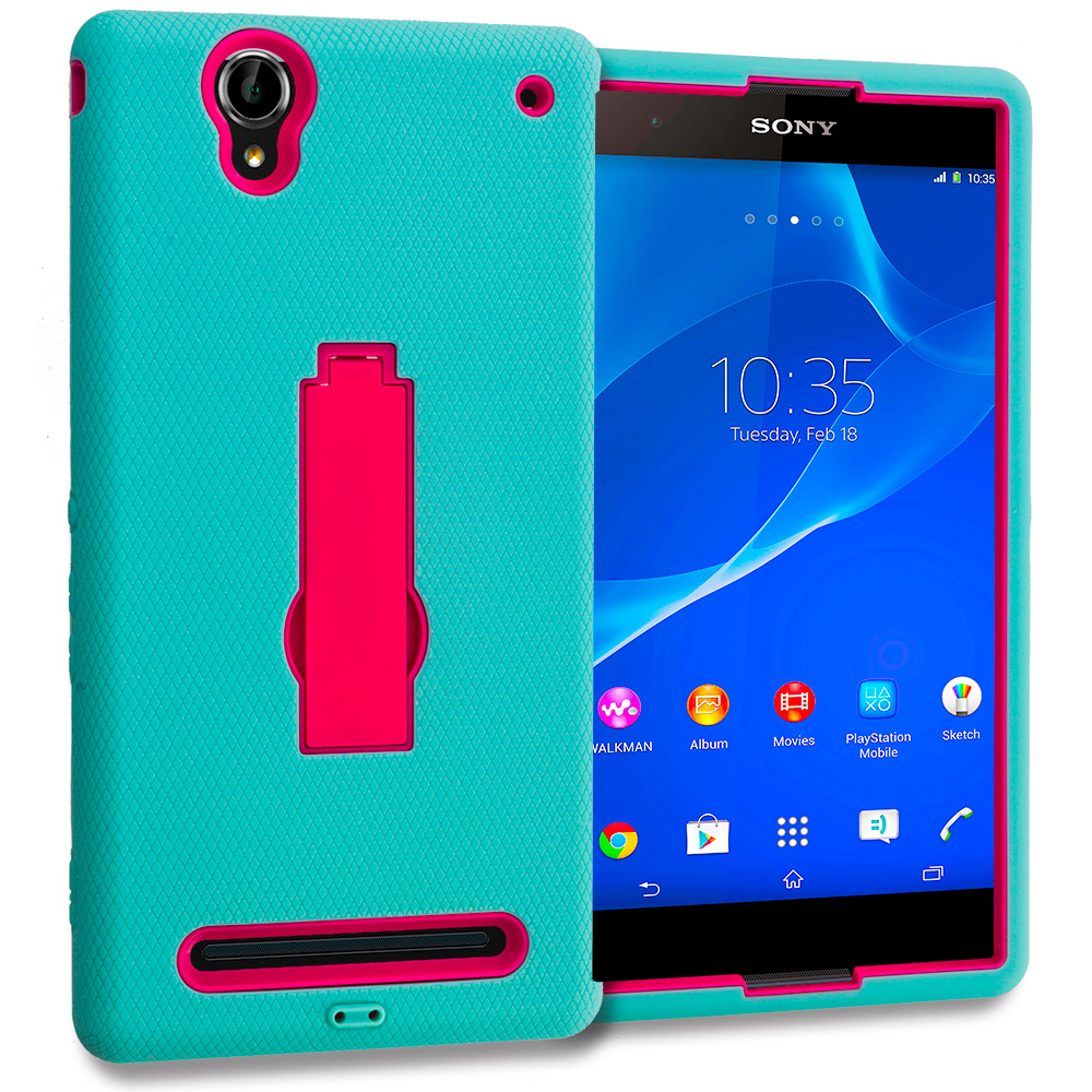 Sony Xperia T2 Ultra D5303 Teal / Hot Pink Hybrid Heavy Duty Hard Soft Case Cover with Kickstand