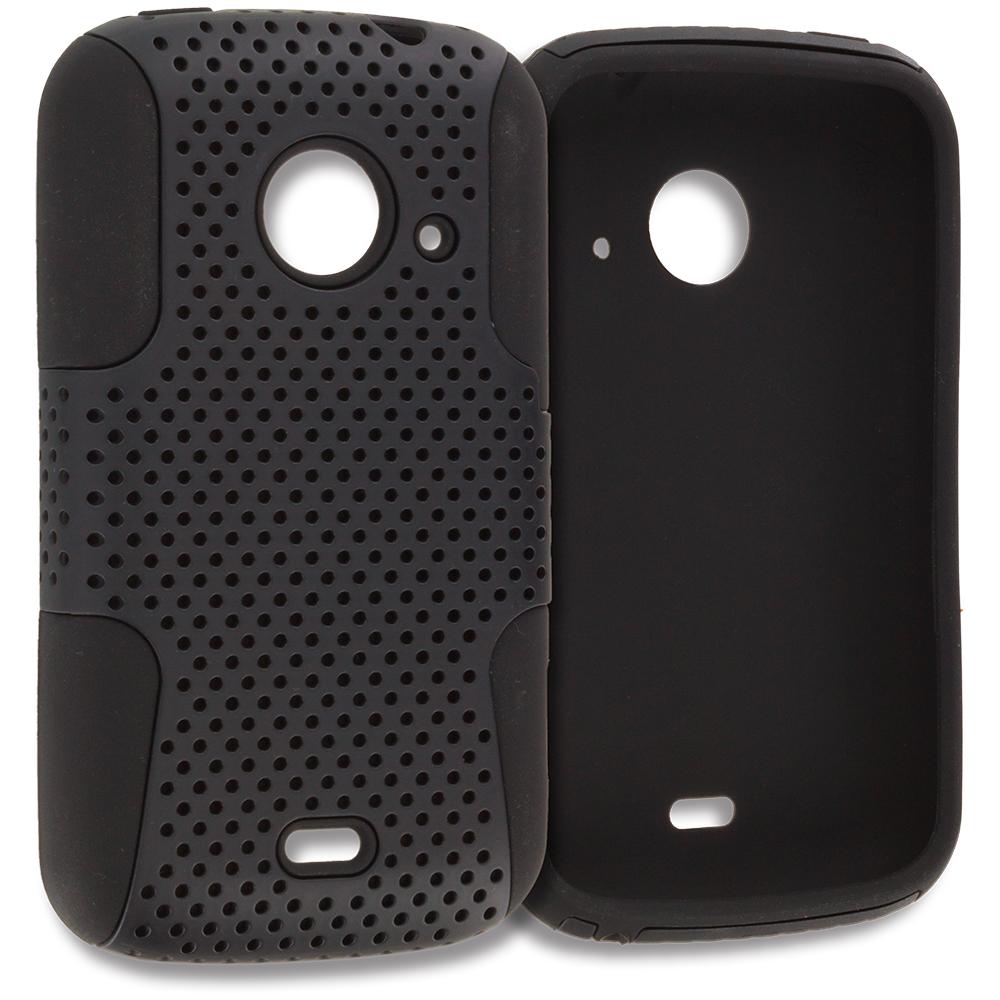 ZTE Zinger Prelude 2 Z667 Black / Black Hybrid Mesh Hard/Soft Case Cover