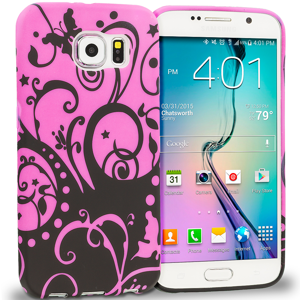Samsung Galaxy S6 Black Purple Swirl TPU Design Soft Rubber Case Cover