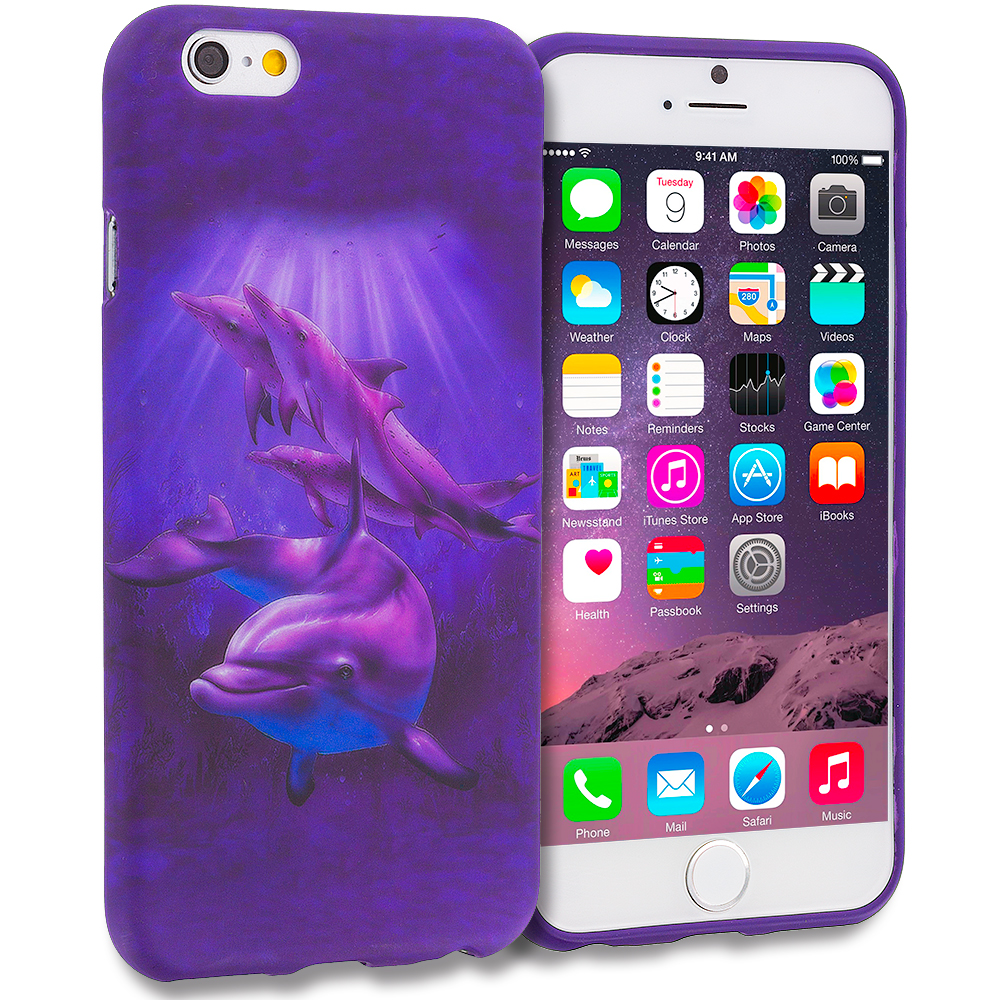 Apple iPhone 6 Purple Dolphin TPU Design Soft Rubber Case Cover