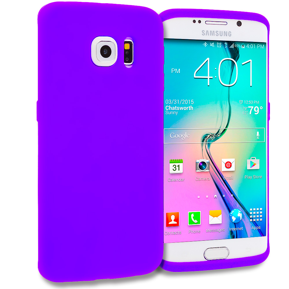 Samsung Galaxy S6 Edge Purple Silicone Soft Skin Rubber Case Cover