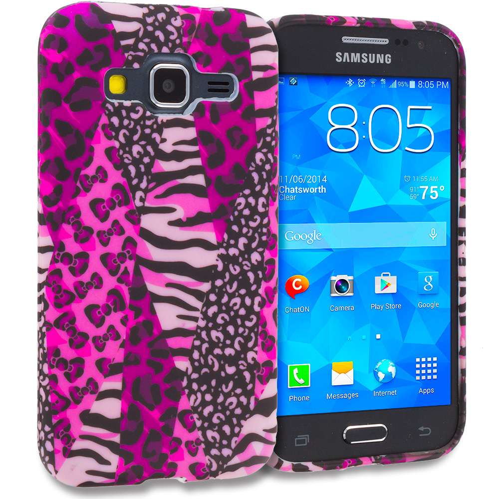 Samsung Galaxy Prevail LTE Core Prime G360P Bowknot Zebra TPU Design Soft Rubber Case Cover