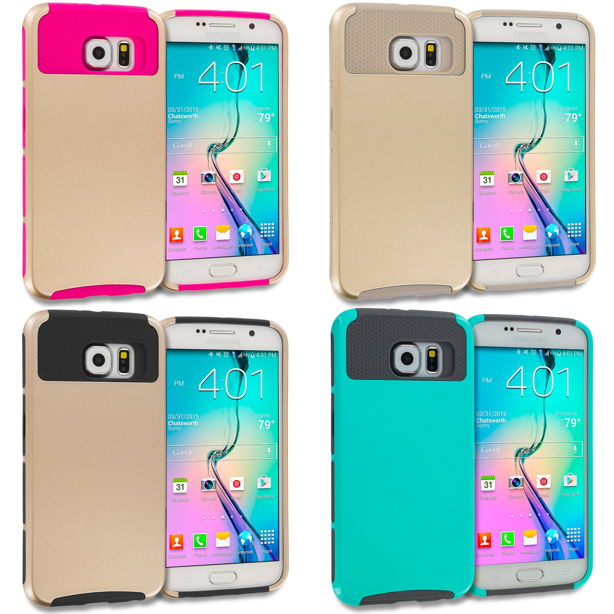 Samsung Galaxy S6 Edge 4 in 1 Combo Bundle Pack - Hybrid Hard TPU Honeycomb Rugged Case Cover
