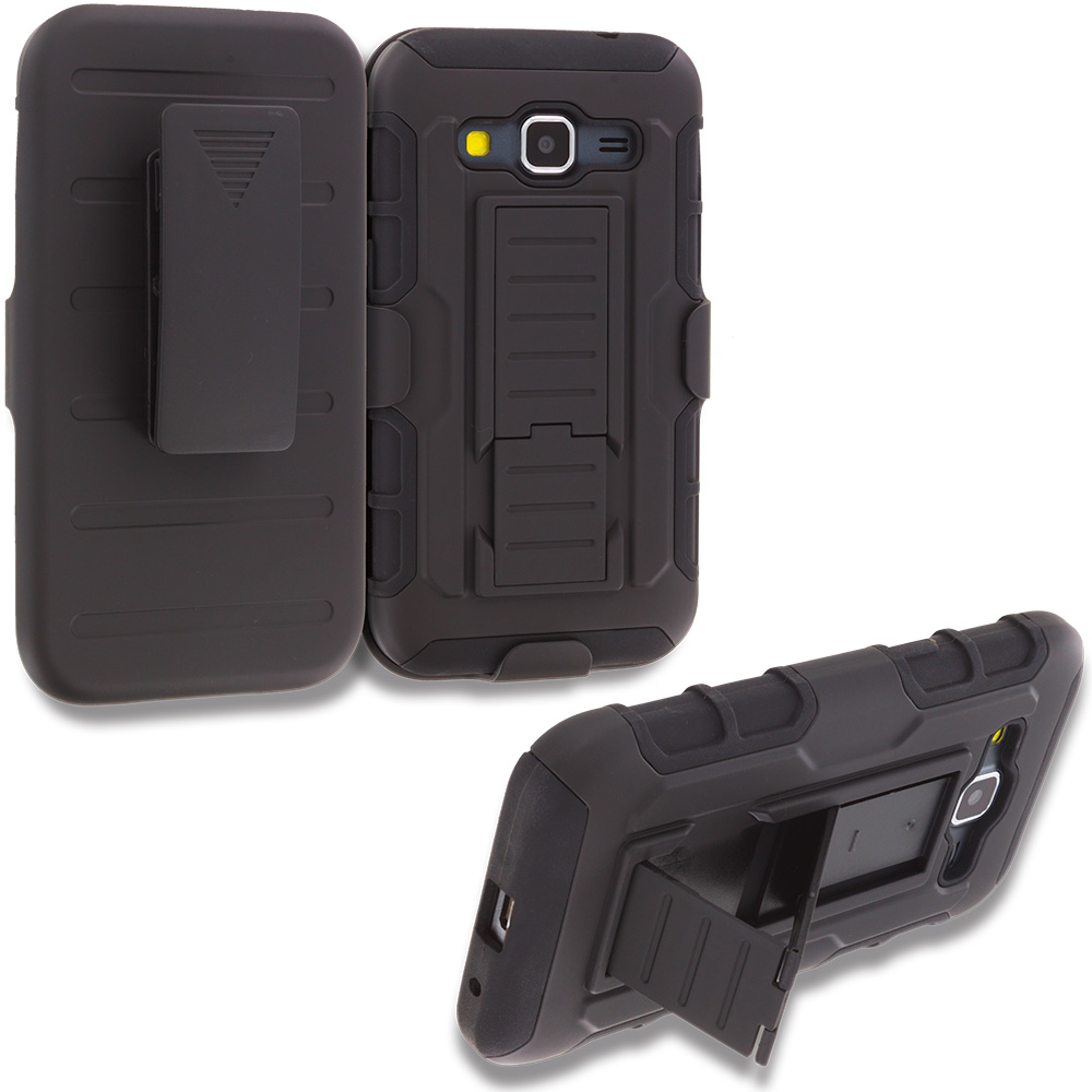Samsung Galaxy Prevail LTE Core Prime G360P Black Hybrid Rugged Robot Armor Heavy Duty Case Cover with Belt Clip Holster