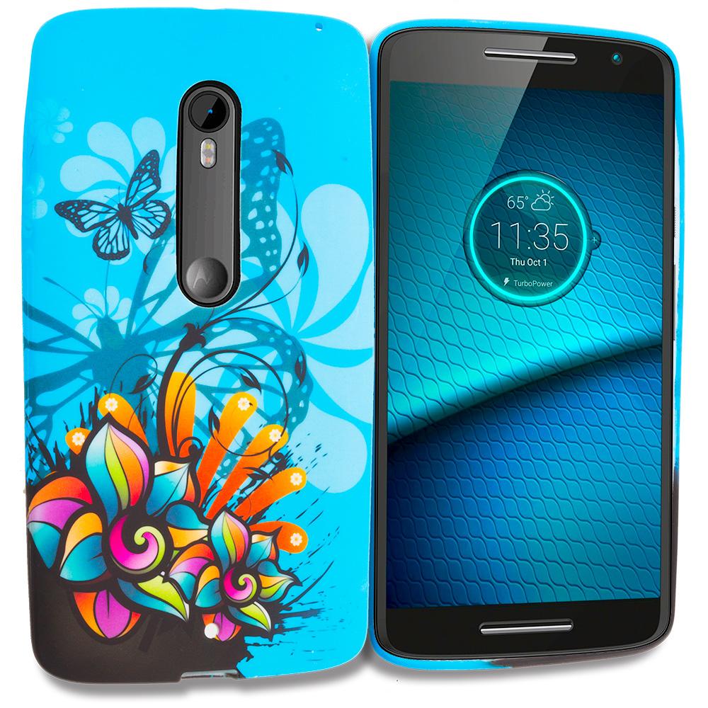 Motorola Droid Maxx 2 XT1565 Blue Butterfly Flower TPU Design Soft Rubber Case Cover